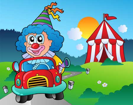 car show: Cartoon clown in car near tent - vector illustration. Illustration