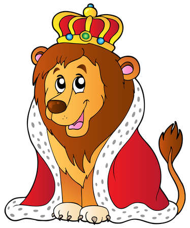 Cartoon lion in king outfit - vector illustration. Stock Vector - 9443068