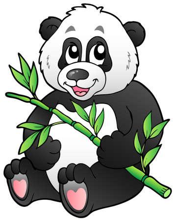 Panda de dibujos animados comer bambú - ilustración vectorial.