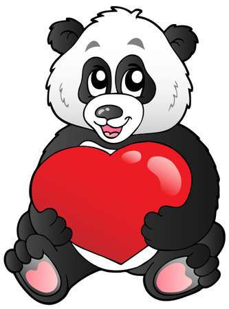 giant: Cartoon panda holding red heart - vector illustration.
