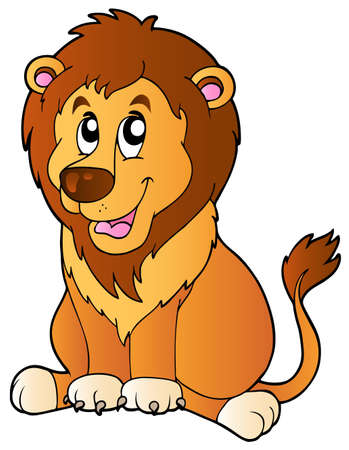 panthera: Cartoon sitting lion - vector illustration.