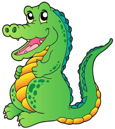 large mouth: Cartoon standing crocodile - vector illustration. Illustration