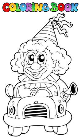 Coloring book with clown in car - vector illustration. Vector