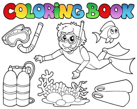 snorkel: Kleurboek met duiken thema - vectorillustratie.