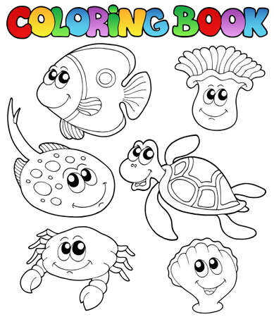 Coloring book with marine animals 3 - vector illustration. Stock Vector - 9443072