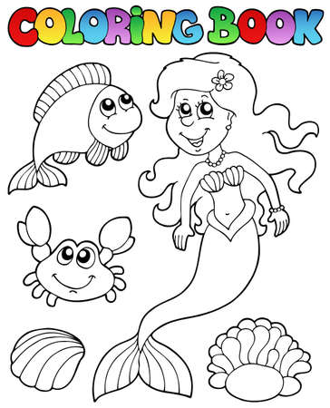 coloring book: Coloring book with mermaid - vector illustration.