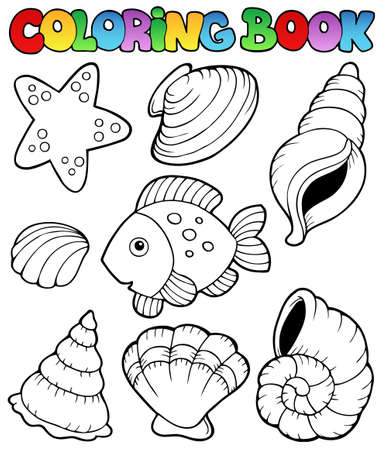 fish form: Coloring book with seashells - vector illustration. Illustration