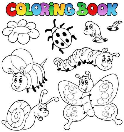 lombriz: Libro para colorear con peque�os animales 2 - ilustraci�n vectorial. Vectores