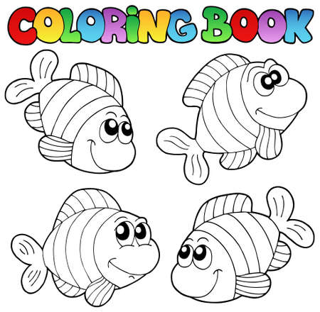 Coloring book with striped fishes - vector illustration. Stock Vector - 9439562