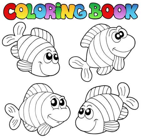 libro caricatura: Libro para colorear con rayas peces - ilustraci�n vectorial.
