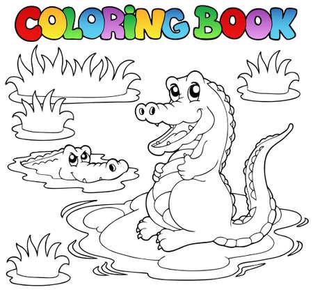 aquatic reptile: Coloring book with two crocodiles - vector illustration.