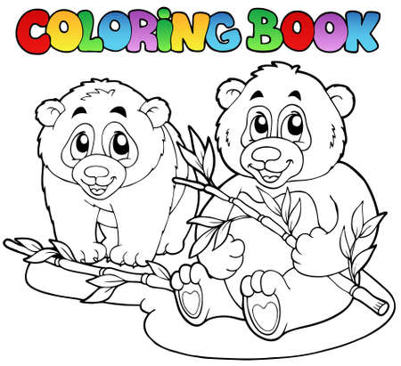 Coloring book with two pandas - vector illustration. Vector