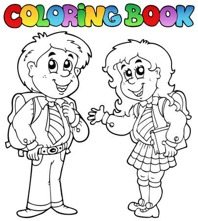 young schoolgirl: Coloring book with two students - vector illustration. Illustration