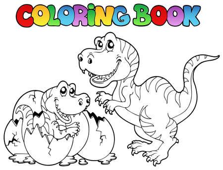 livre � colorier: Coloration du livre avec tyrannosaurus - illustration vectorielle.
