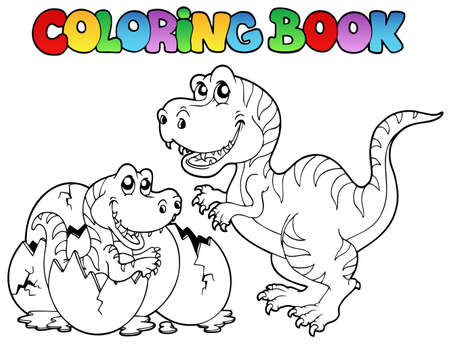 prehistoria: Libro para colorear con tiranosaurio - ilustraci�n vectorial. Vectores
