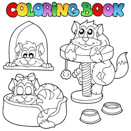 Coloring book with various cats 1 - vector illustration. Vector