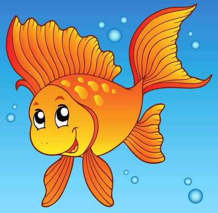 Cute goldfish in water - vector illustration. Stock Vector - 9439552