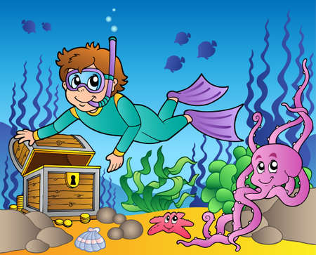 Diver exploring treasure in sea - vector illustration. Vector