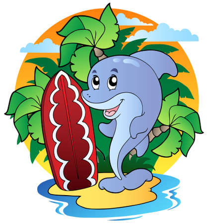 Dolphin with surfing board - vector illustration. Vector