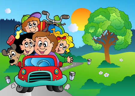 family vacations: Family in car going on vacation - vector illustration.