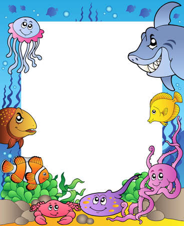 reef fish: Frame with sea fishes 1 - vector illustration. Illustration