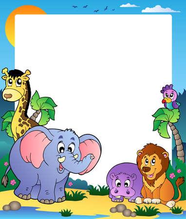 hipopotamo caricatura: Marco con animales tropicales 1 - ilustraci�n vectorial. Vectores