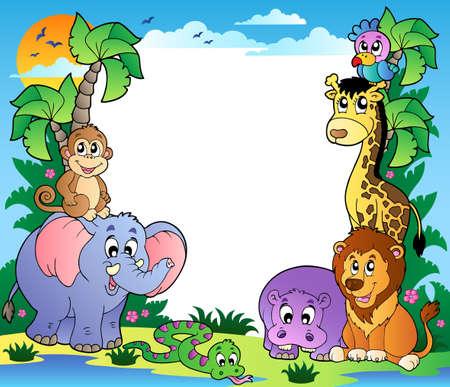 hippopotamus: Marco con animales tropicales 2 - ilustraci�n vectorial.