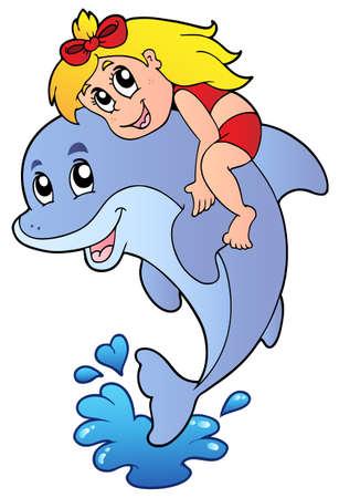 dauphin: Jeune fille assise sur dolphin - illustration vectorielle.