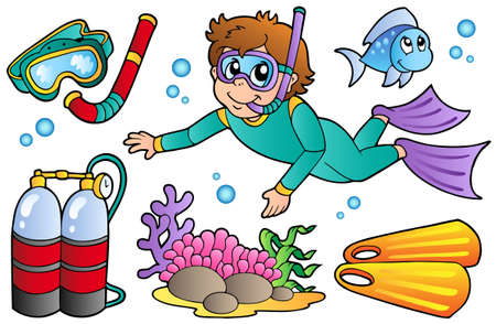 Scuba diving collection - vector illustration.