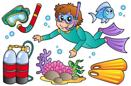 nurkować: Scuba diving kolekcja - ilustracji wektorowych.
