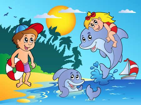 Spiaggia di estate con i bambini e i delfini - illustrazione vettoriale.