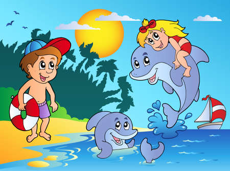 children art: Summer beach with kids and dolphins - vector illustration.