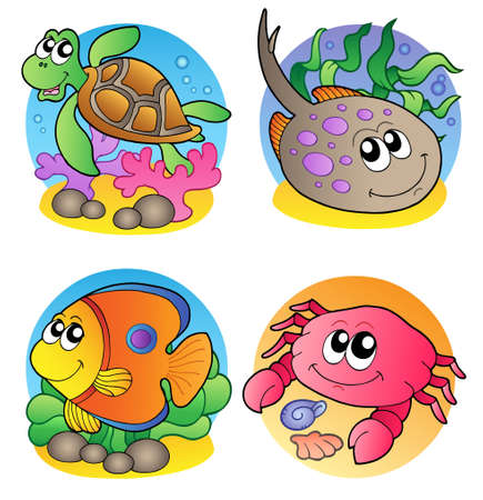 animal fauna: Various marine animals images 1 - vector illustration. Illustration
