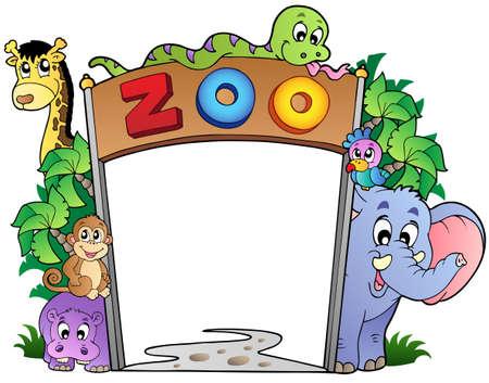 the zoo: Entrada del zool�gico con varios animales - ilustraci�n vectorial. Vectores