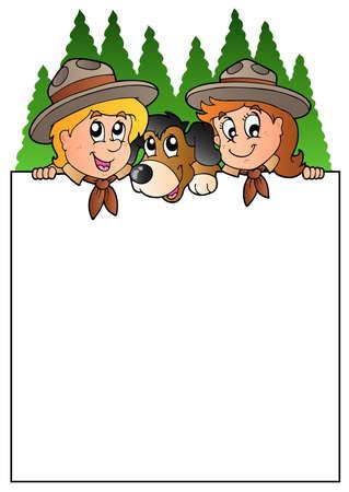 pfadfinderin: Leere Rahmen mit Lauernde scouts  Illustration