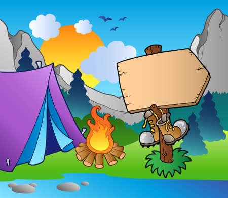campamento de verano: Signo de madera acampar en la orilla del lago  Vectores
