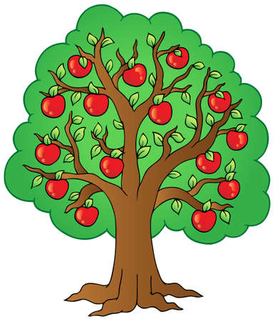 apple cartoon: Cartoon apple tree