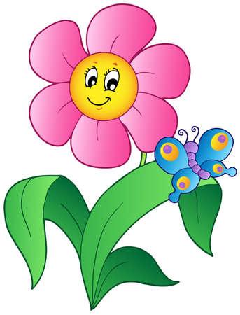 Cartoon flower with butterfly  Vettoriali