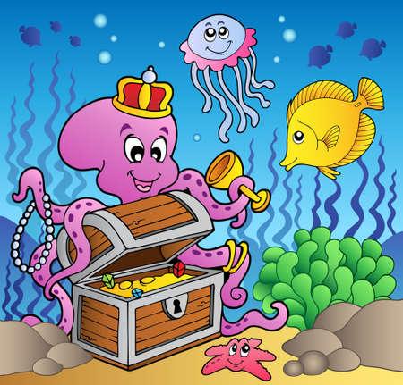 jellyfish: Cartoon octopus on treasure chest  Illustration