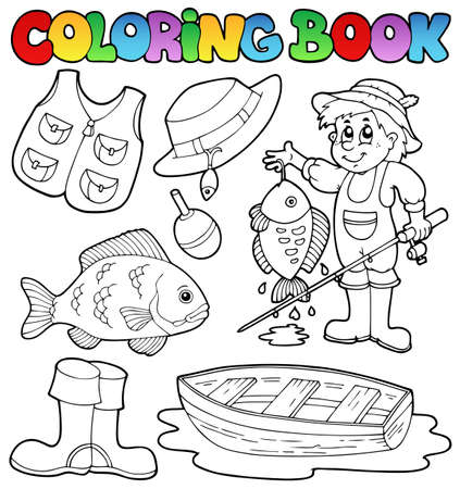 fisherman boat: Coloring book with fishing gear
