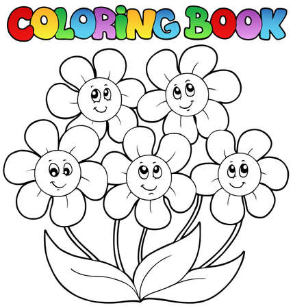 coloring book: Coloring book with five flowers Illustration