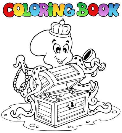 Farbton-Buch mit octopus