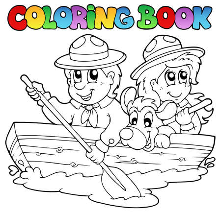 Coloring book with scouts in boat Vector