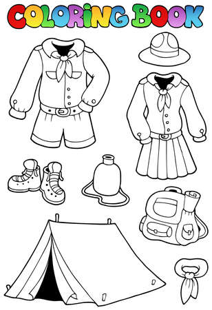 Coloring book with scout clothes  Vector