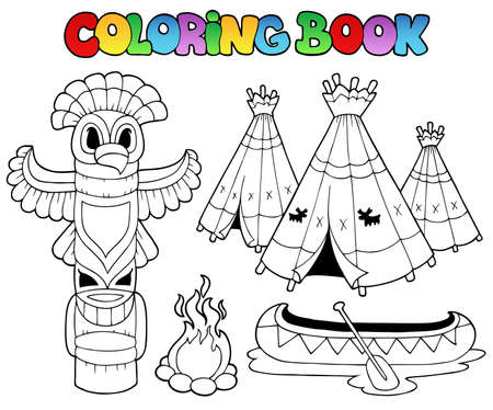 indian village: Coloring book with totem - vector illustration.