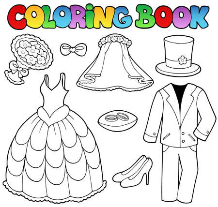Coloring book with wedding clothes - vector illustration. Stock Vector - 9528317