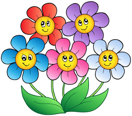 Five cartoon flowers