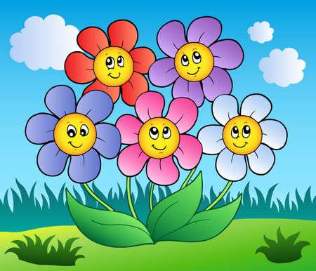 Five cartoon flowers on meadow