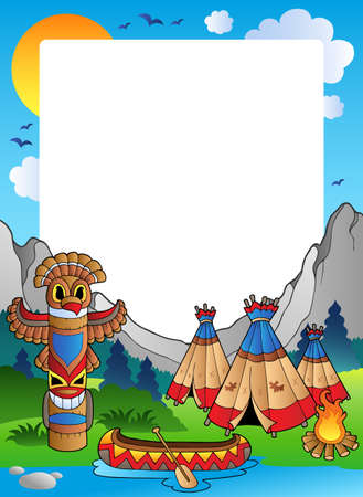 native american art: Frame with Indian village Illustration