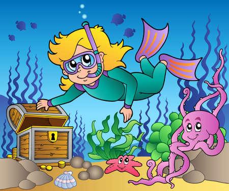 Girl snorkel diver exploring sea